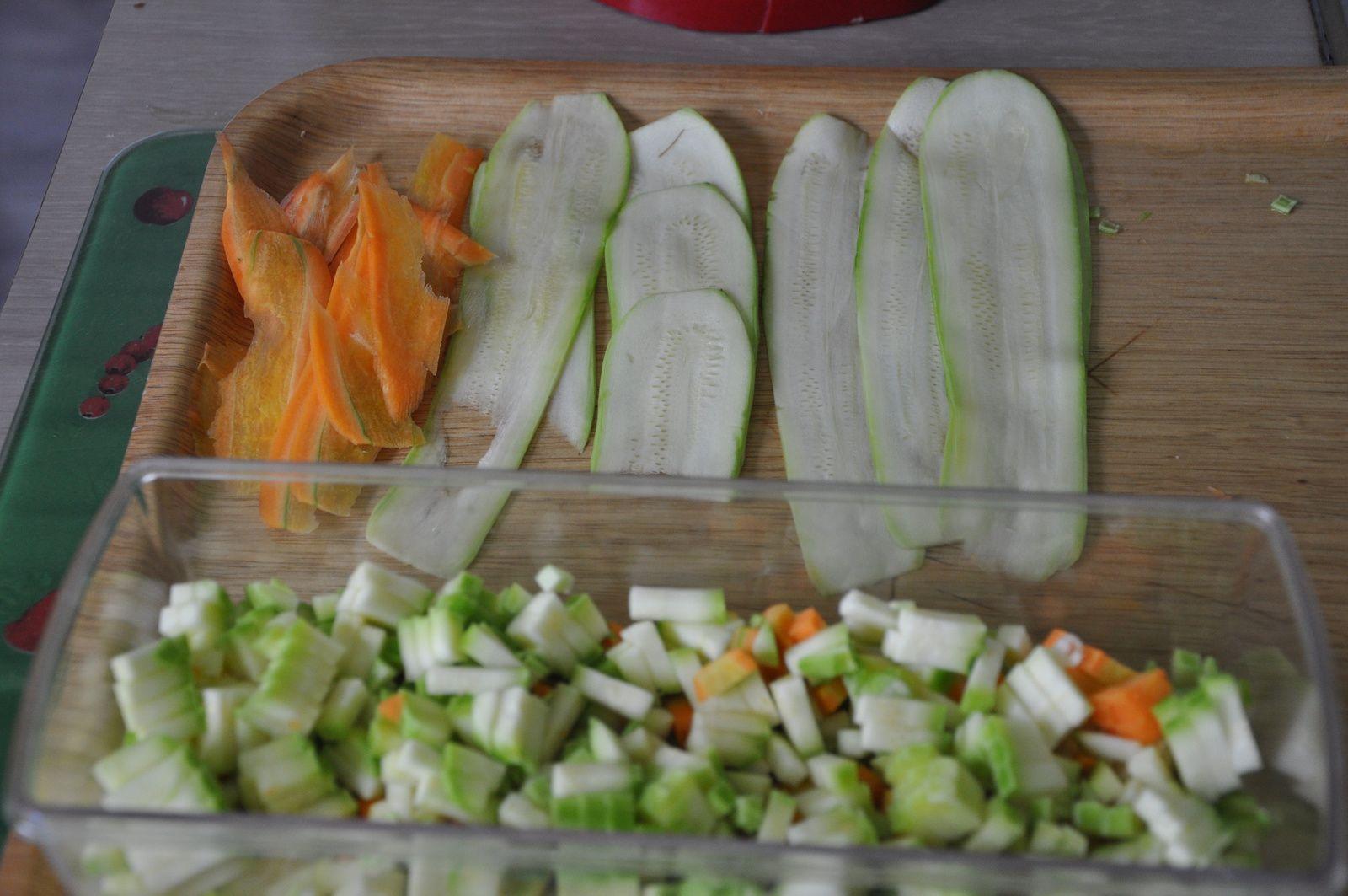 légumes en lanières pour la déco