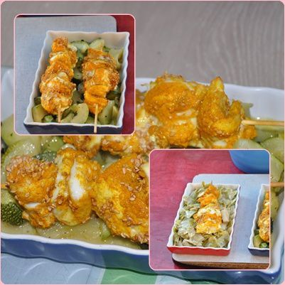 brochettes poissons au four