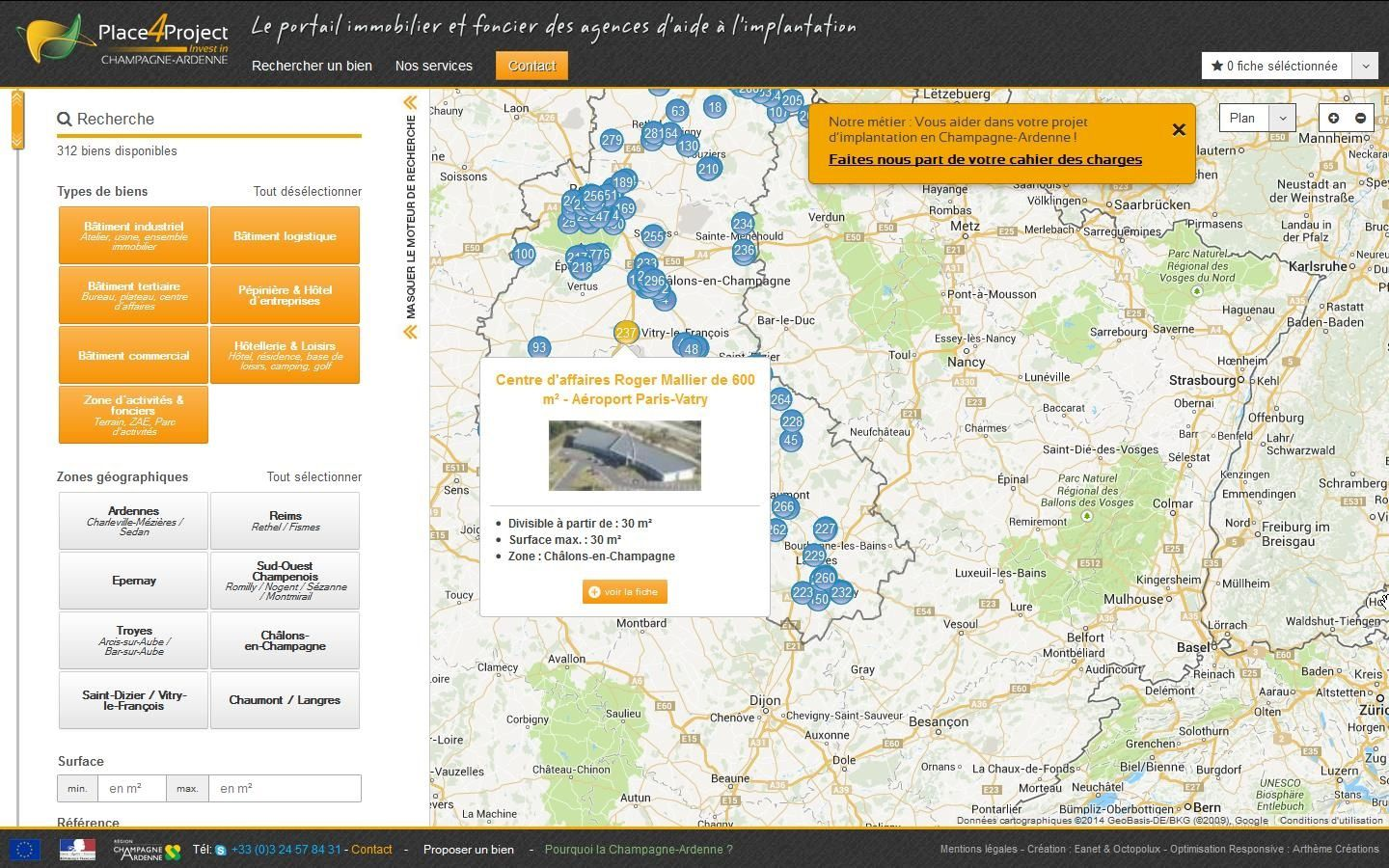 Page d'accueil du site Internet Place4Projects, mars 2014