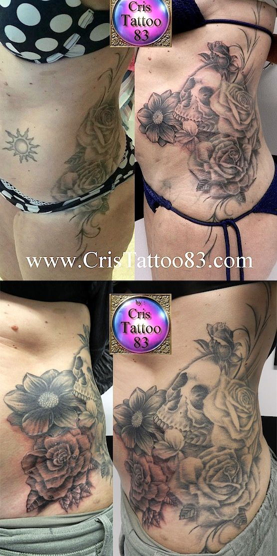 Cover-up old tattoo/Skull and flowers woman