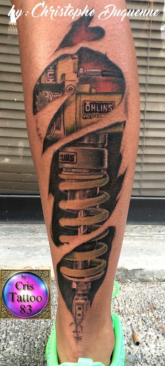 tatouage amortisseur mollet