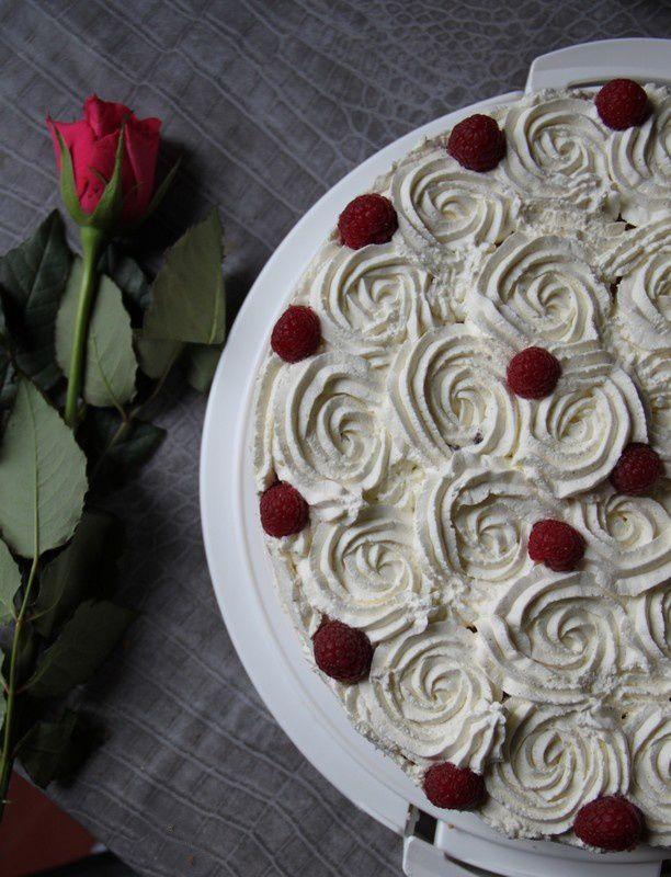 Gâteau d'anniversaire framboise et chocolat blanc