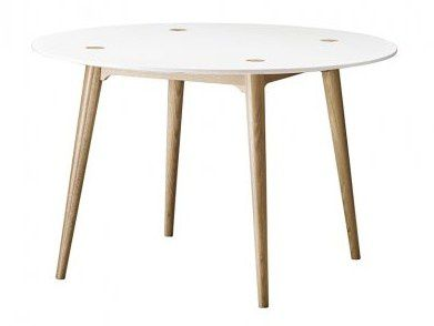 Table ronde vintage en bois massif retro la redoute for La table du 6 laille