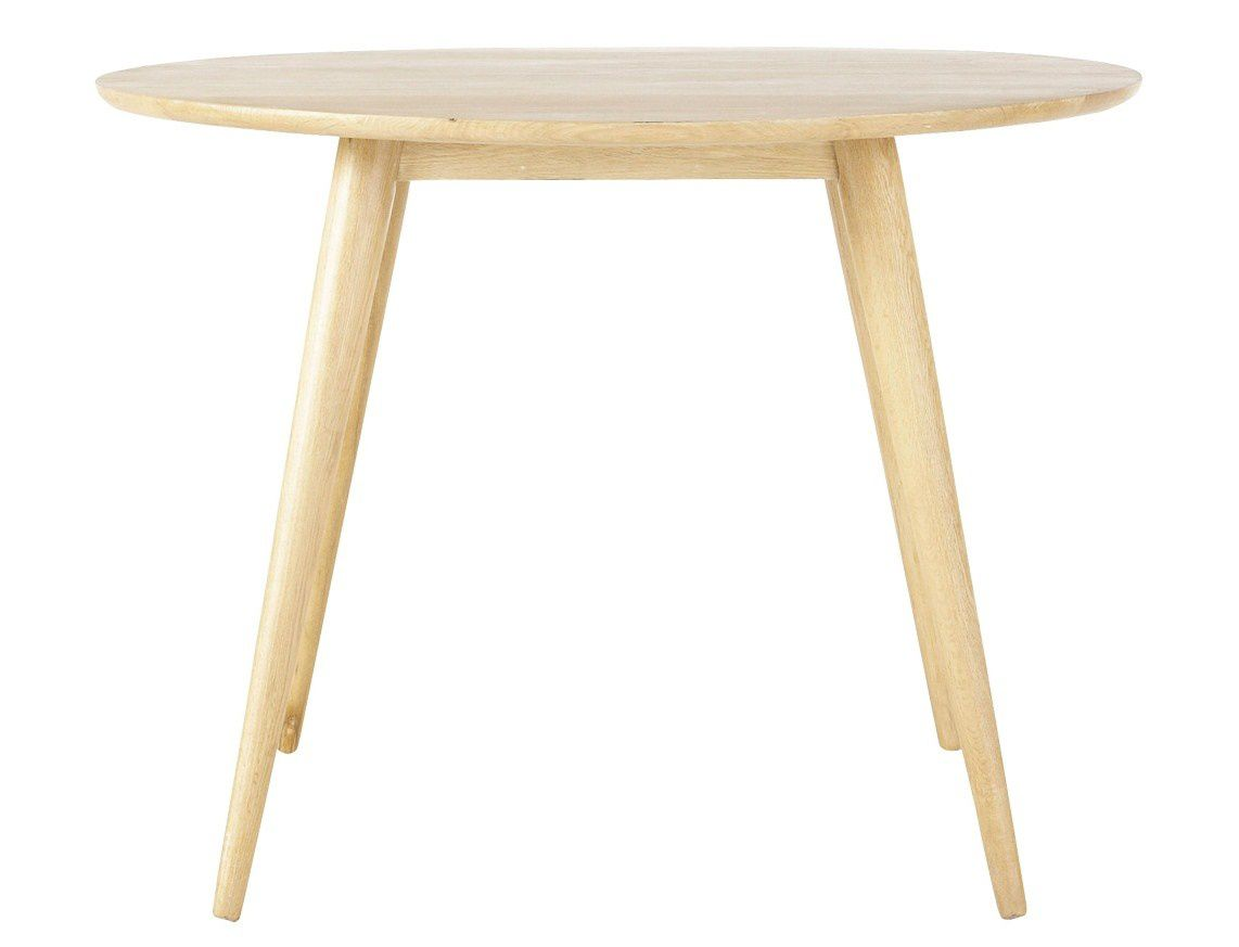 Table ronde vintage en bois massif retro la redoute for Maisons du monde table