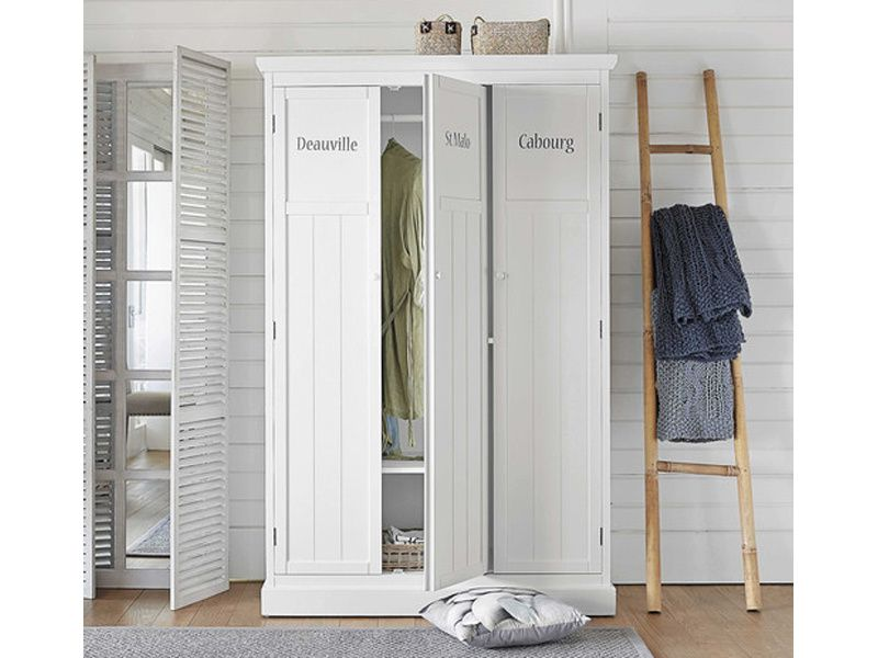 D co chambre armoire penderie en bois blanc fashion maman for Armoire newport maison du monde