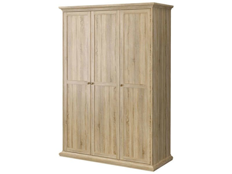 D co chambre armoire penderie en bois blanc fashion maman for Armoire penderie blanc conforama
