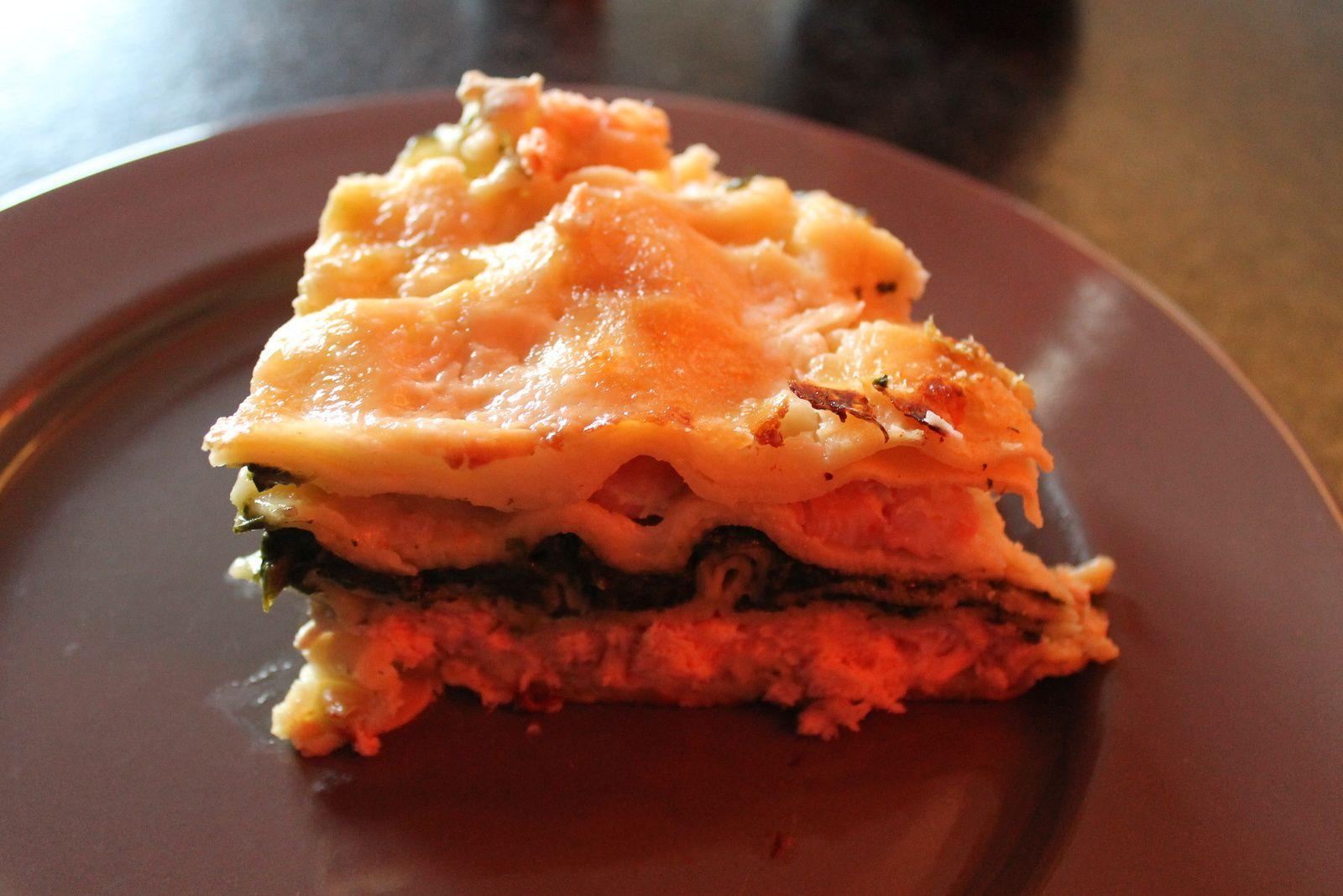 Lasagnes saumon, crevettes et épinards.