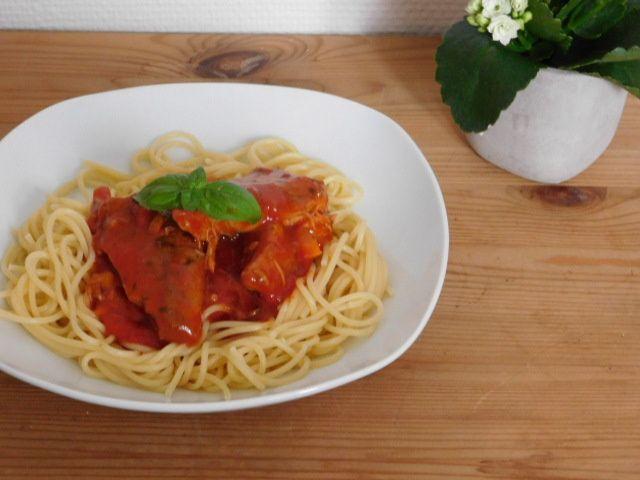 Spaghetti aux maquereaux.
