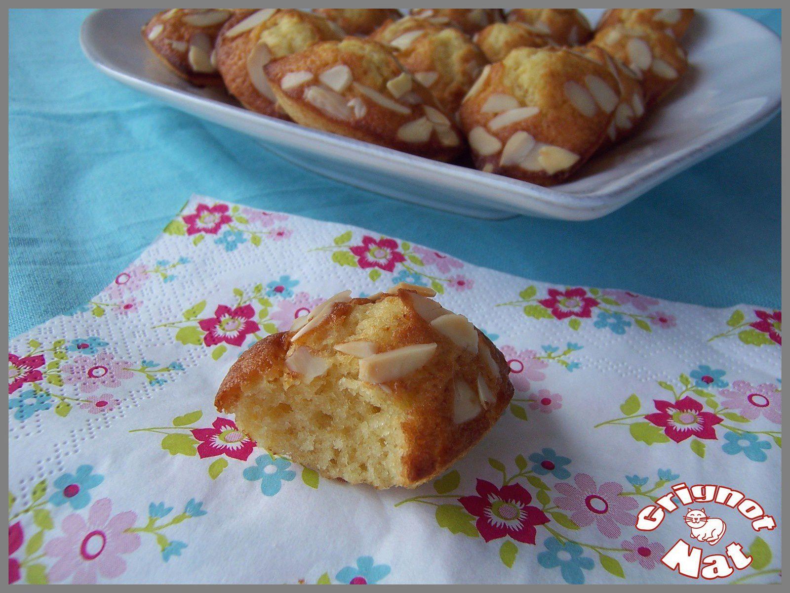 Madeleines au miel de lavande et amandes effilées