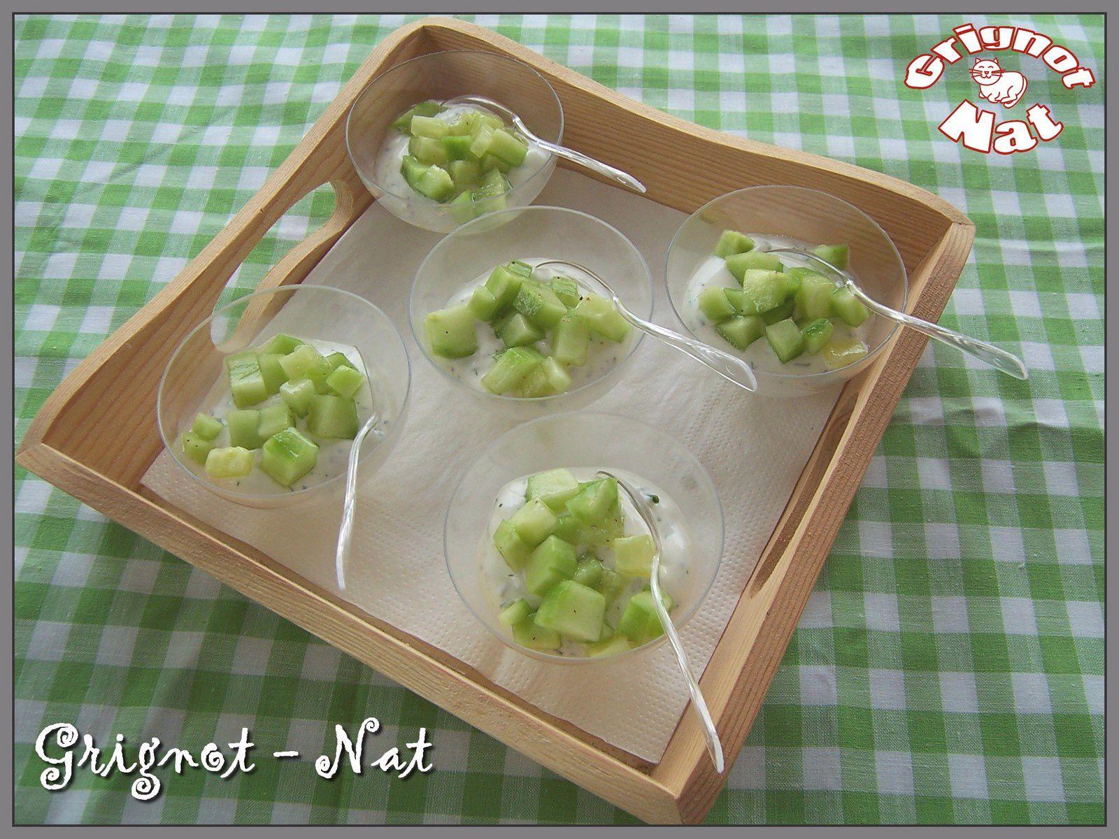 Verrines concombre et yaourt grec pour l'apéritif
