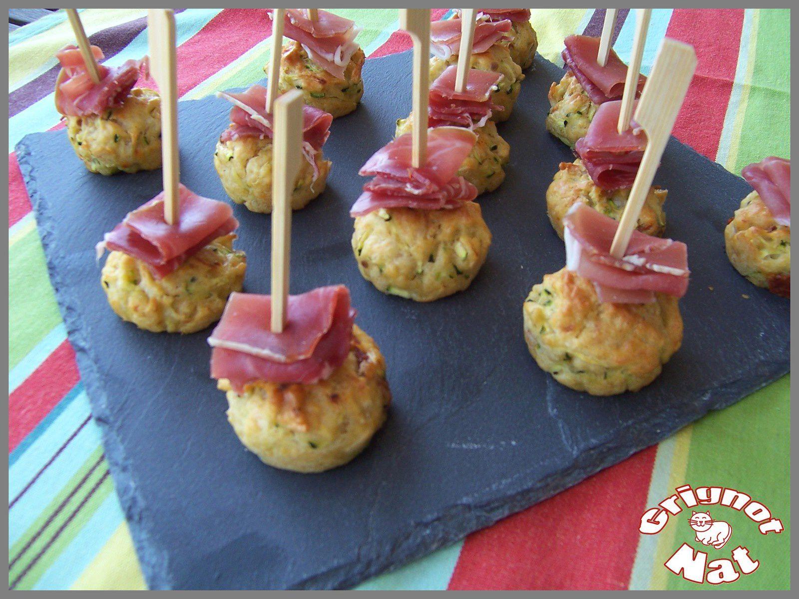 mini cakes courgette et jambon cru