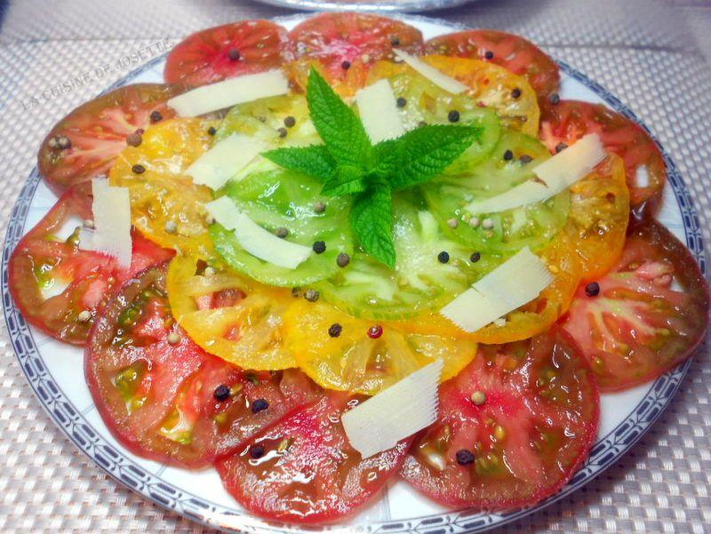 carpaccio de tomates aux 3 couleurs