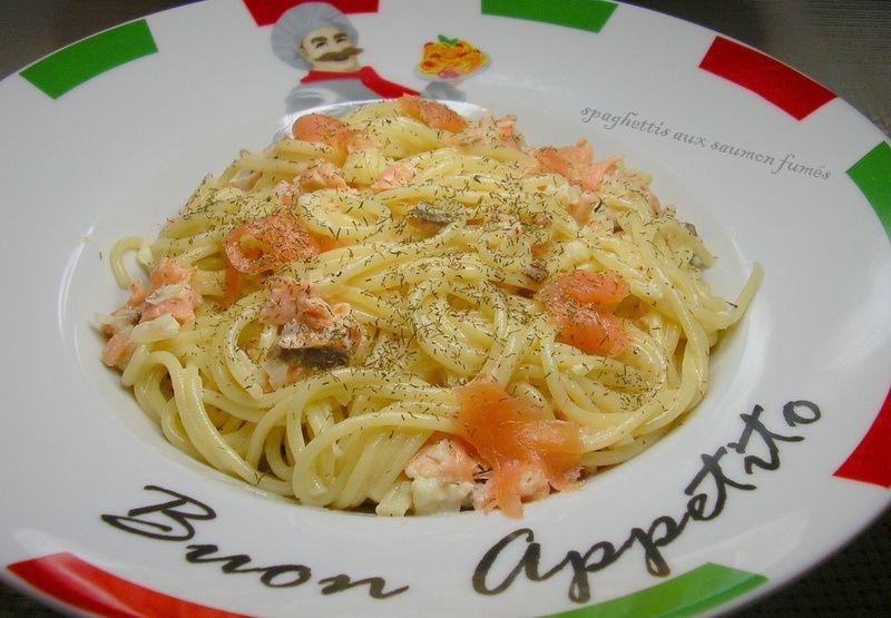 spaghettis aux saumon fumés