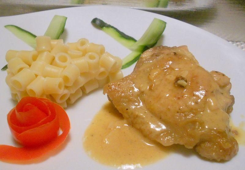 cuisse de poulet au miel,ail et moutarde de dijon