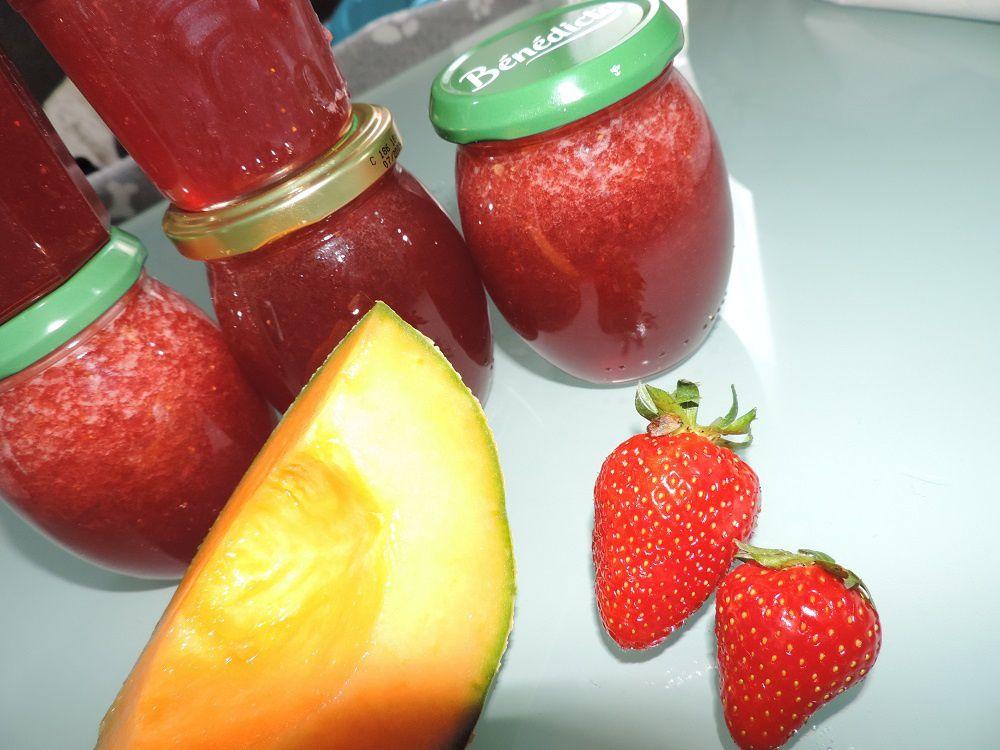 Confiture melon et fraises