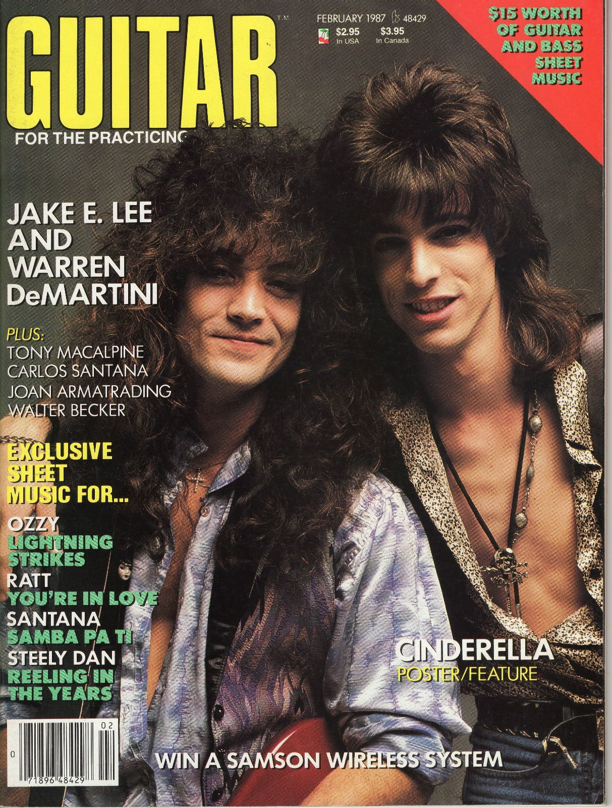 Warren DeMartini - February 1987 - Warren Demartini, Jake Lee - Guitar For The Practising Magazine Cover (United States)