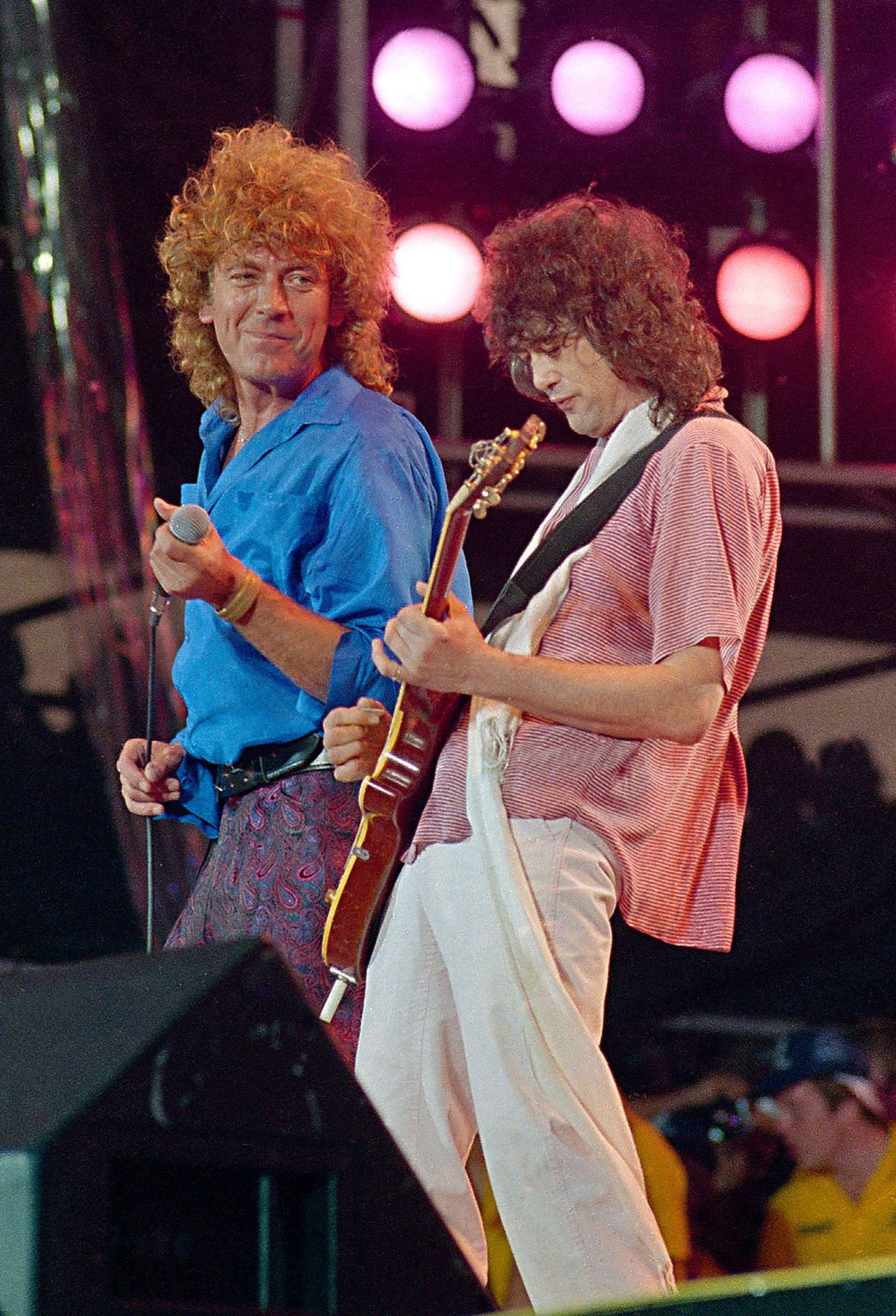 Robert Plant - with Jimmy Page at J.F.K. Stadium in Philadelphia for the LiveAid famine relief concert in 1985. AP PHOTO