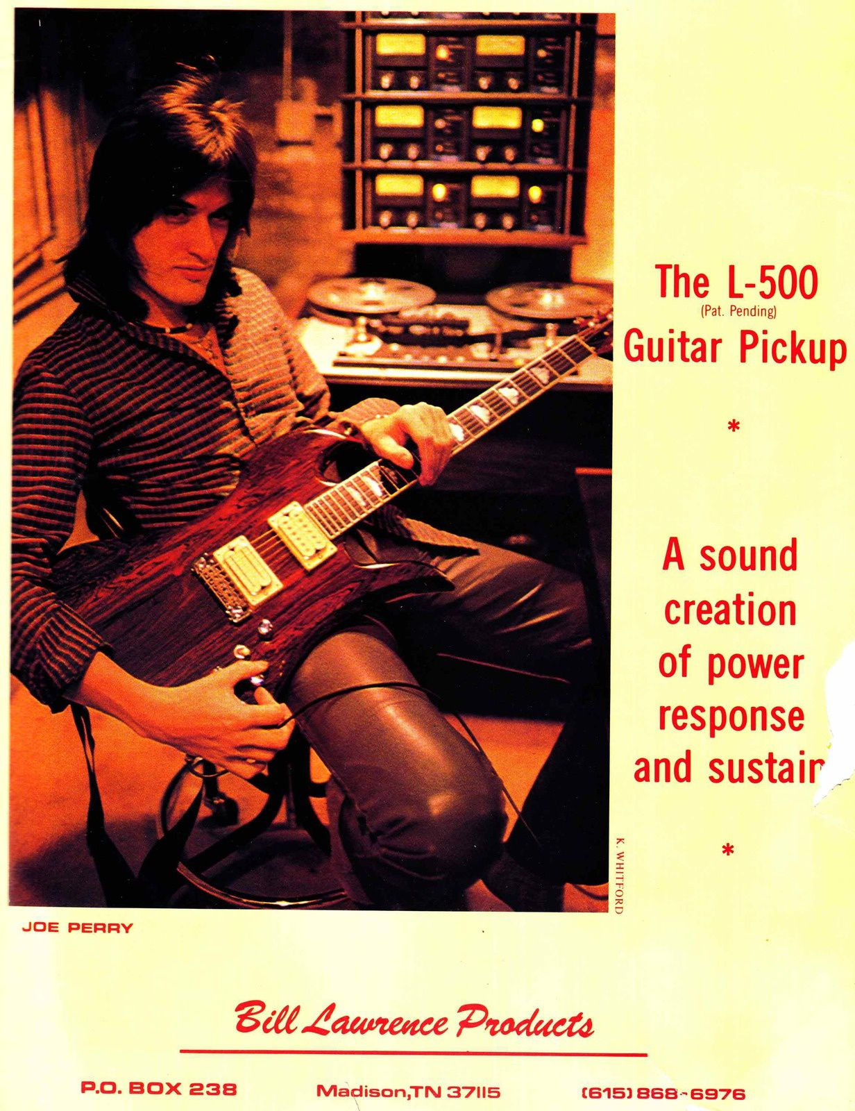 Joe Perry - 1981 - Joe Perry promotes Bill Lawrence pickups