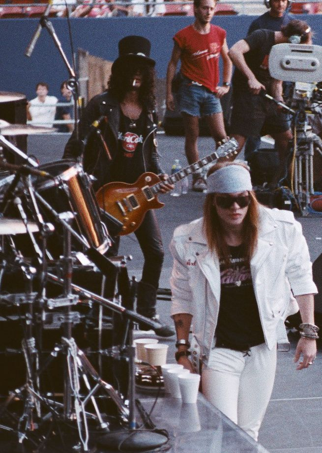 "Slash - August 16, 1988 - Slash and Axl before their ""Paradise City"" performance at Giants Stadium, New Jersey"