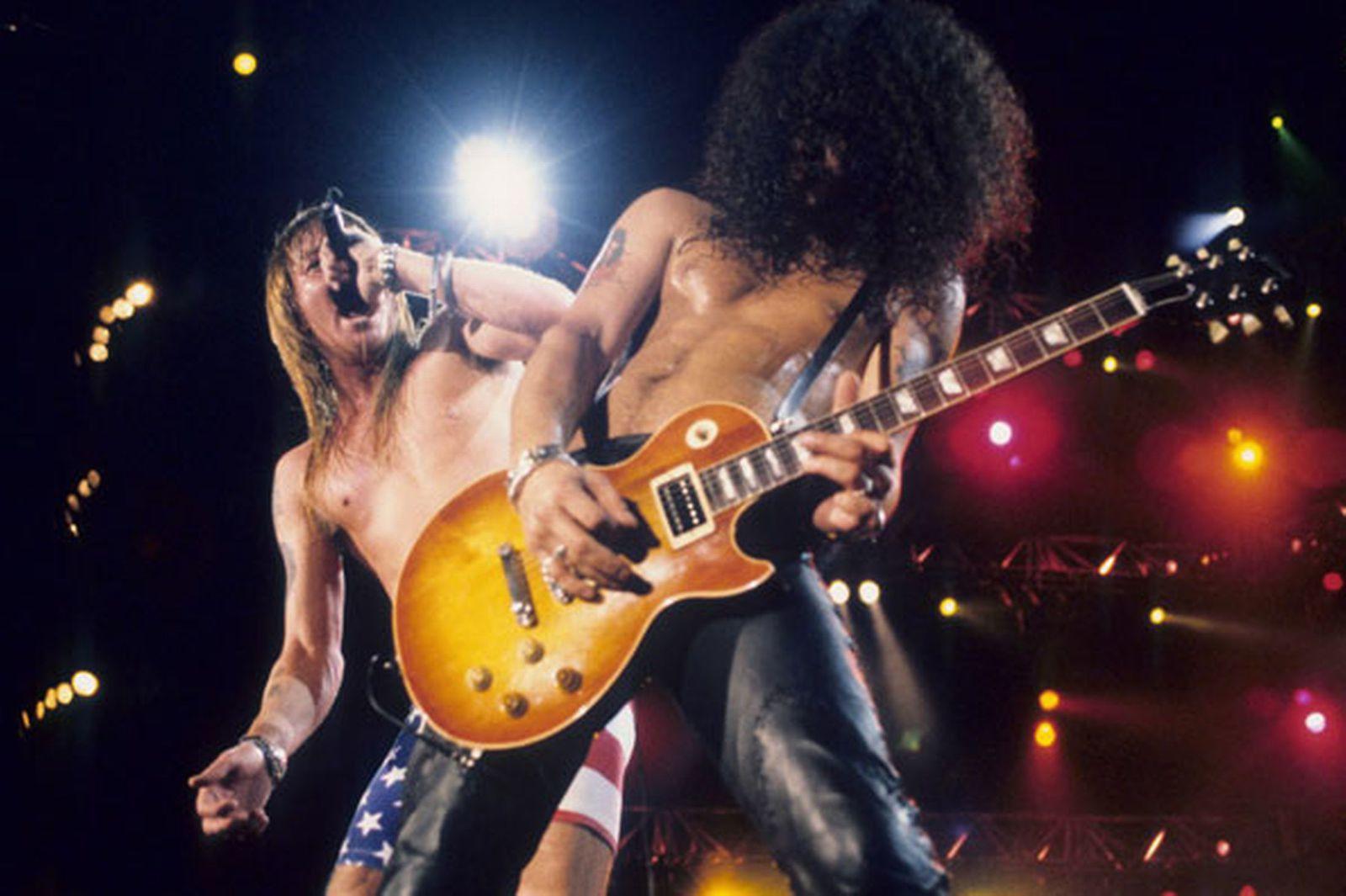 Slash - January 15, 1991 - Axl Rose and Slash of Guns N'Roses perform live at Rock In Rio II