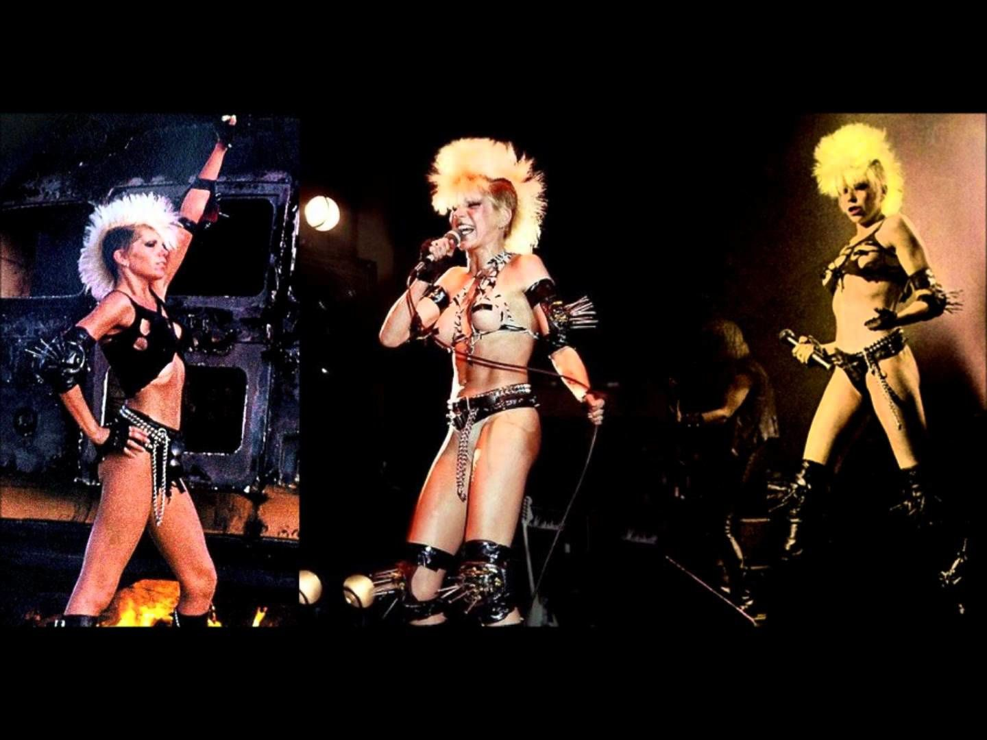 Wendy O. Williams on stage with the Williams' trademark Mohawk haircut
