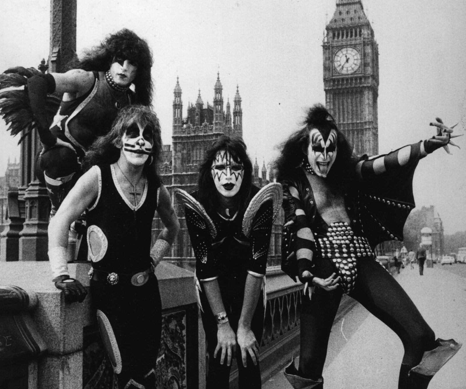 Ace Frehley - 10th May 1976 - American theatrical glam rock group Kiss pose on Westminster