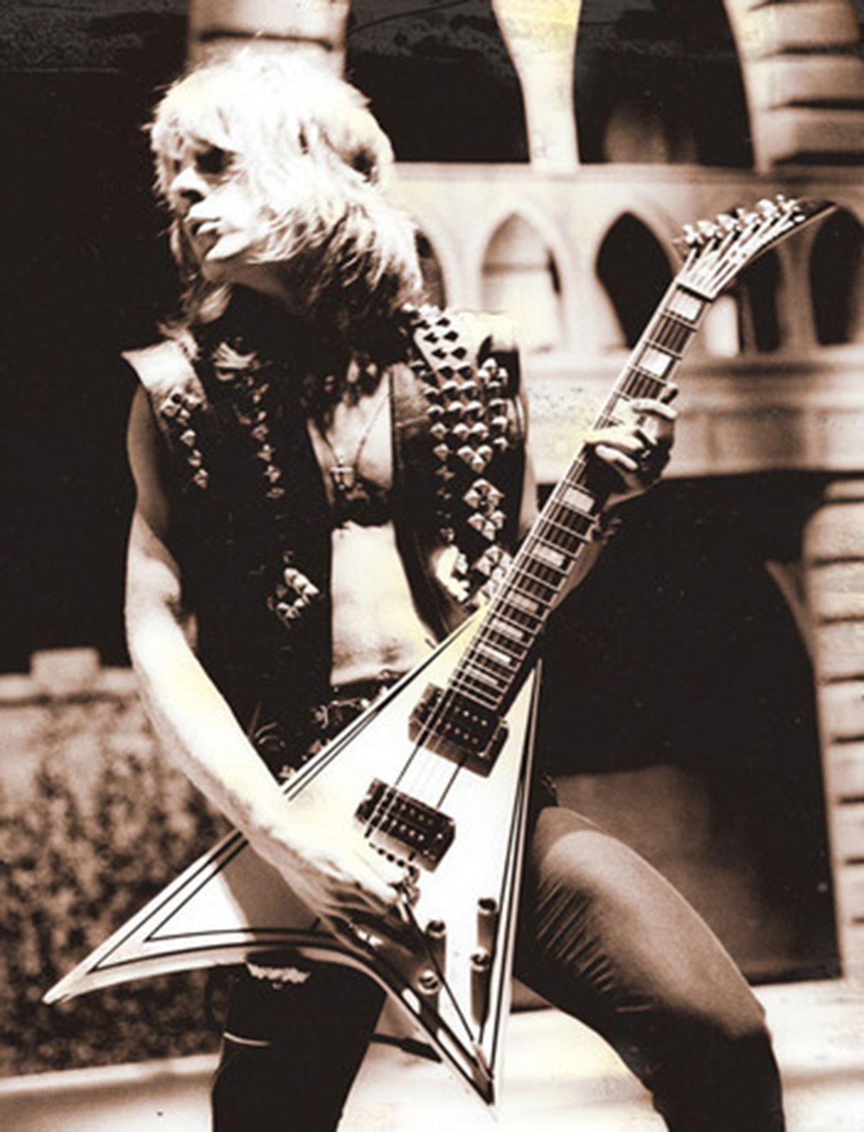 Randy Rhoads with his Flying V-style guitar
