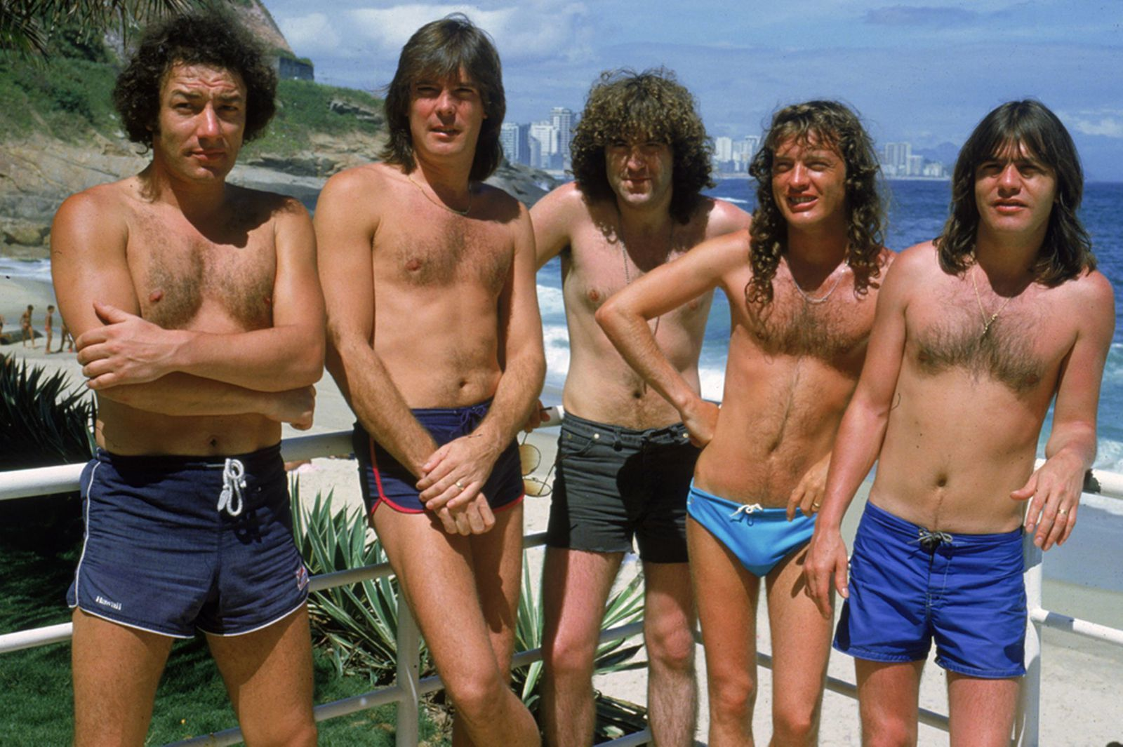 1985: AC DC at the beach in Ipanema, Brazil during a South American tour, January - credit: Getty images