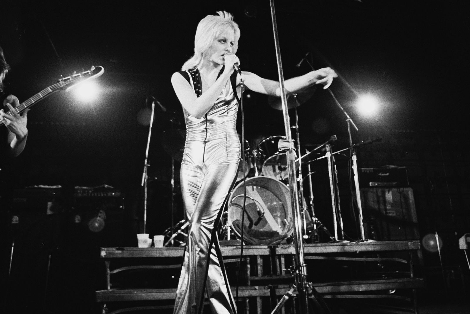 Cherie Currie on stage with the Runaways
