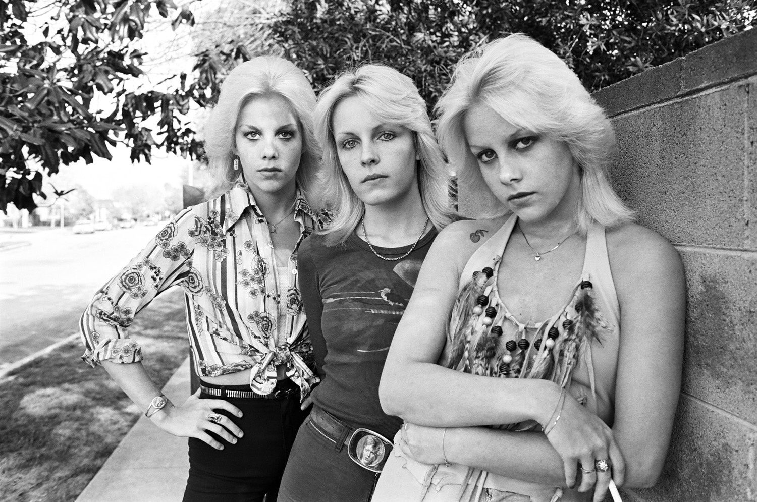 An archival photo of Cherie Currie with her twin Marie and Vicki Razor Blade in the San Fernando Valley, Los Angeles - Photo Brad Elterman