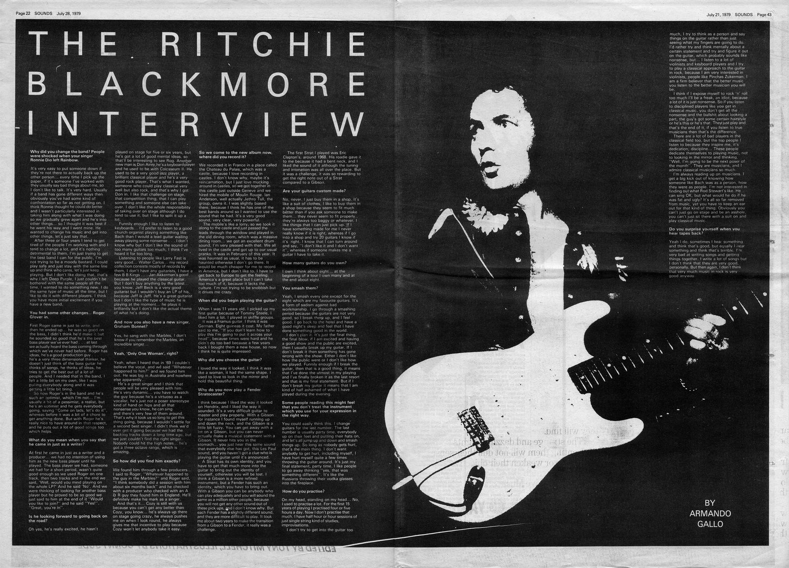 Ritchie Blackmore, Sounds issue 28 July 1979