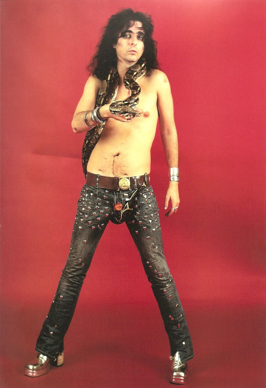 Alice Cooper with a snake