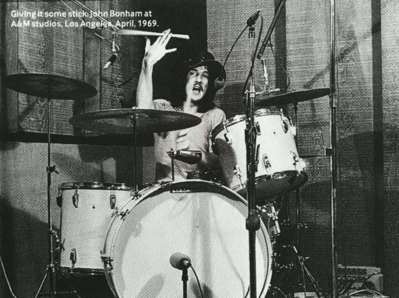 Giving it some stick: John Bonham at A&M studio, Los Angeles, April, 1969.
