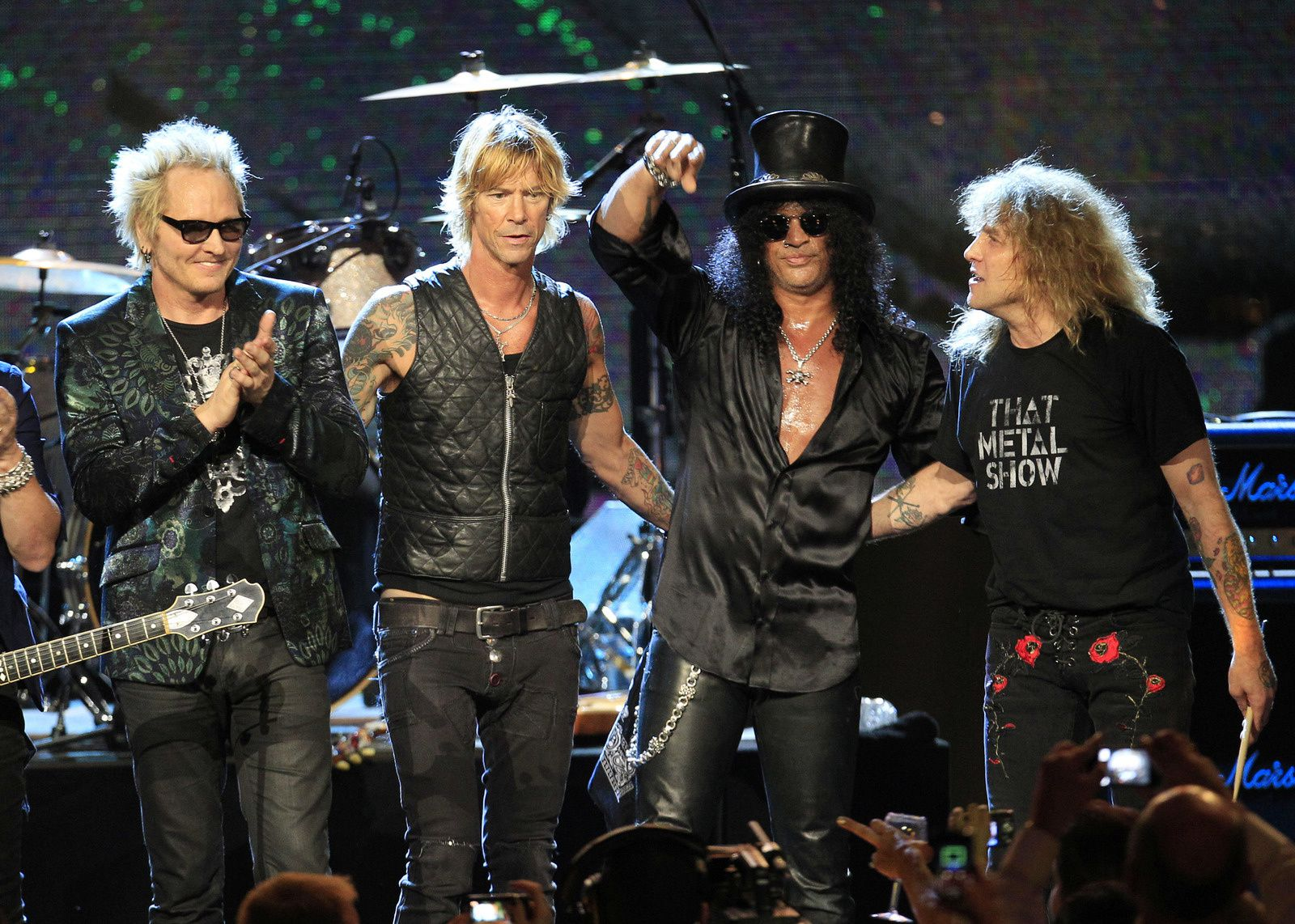 On April 14, 2012, former Guns N' Roses members Slash, Duff McKagan, Steven Adler and Matt Sorum all reunited (but without axl rose) at the Rock and Roll Hall of Fame, their first year of eligibility.