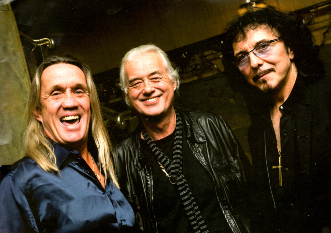Nicko Mcbrain, Jimmy Page and Tony Iommi