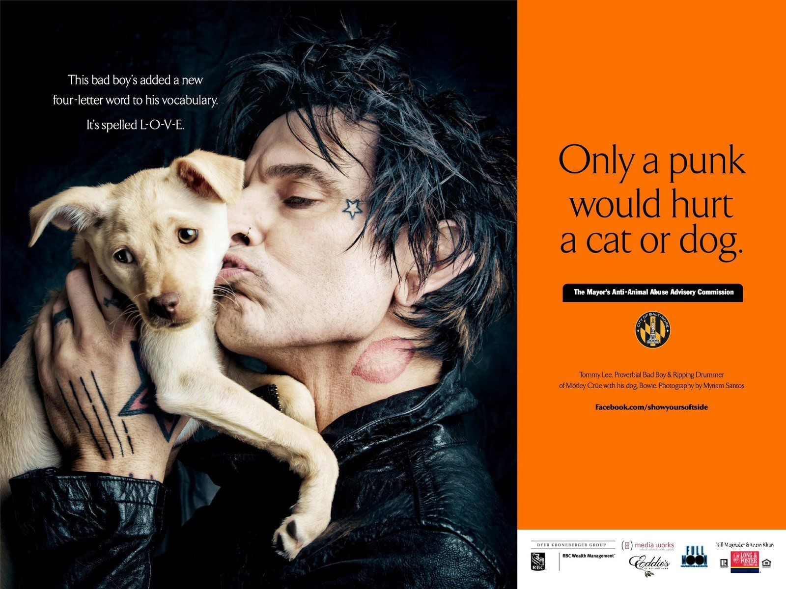 Tommy Lee, proverbial bad boy & ripping drummer of Motley Crue with his dog Bowie - Photography by Myriam Santos.