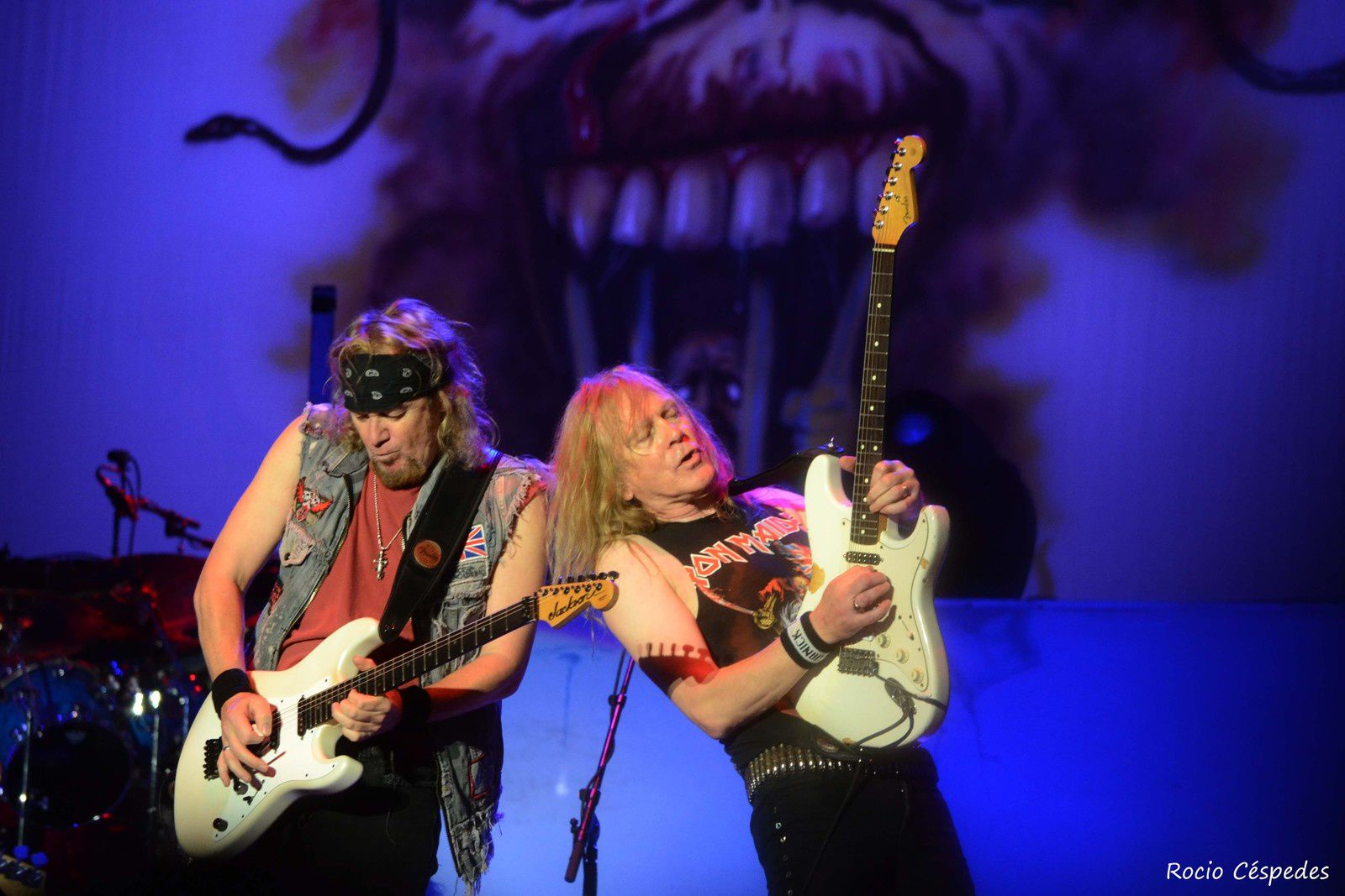 Adrian Smith and Janick Gers, Iron Maiden in Paraguay (2013) - credit: Rocio Cespedes
