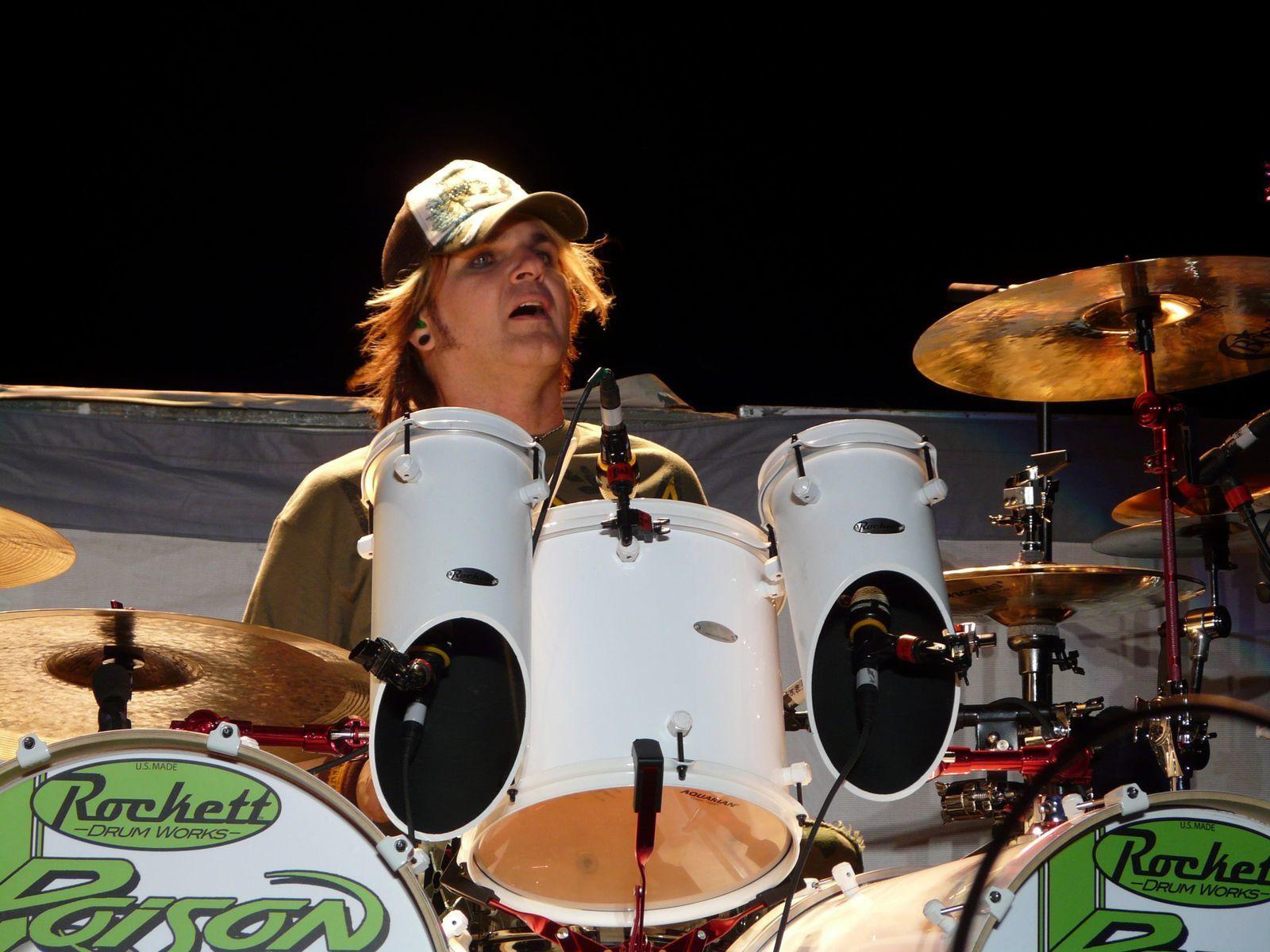 Rikki Rockett live with Poison on July 11, 2008 at the Moondance Jam
