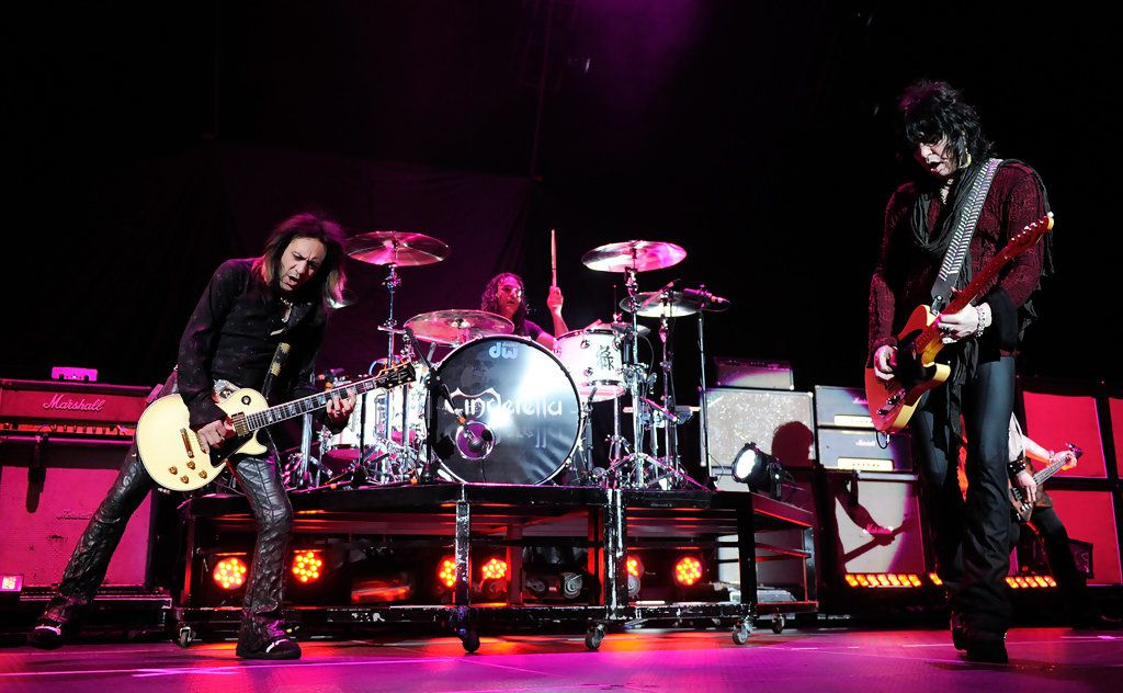 Fred Coury, Jeff Labar and Tom Keifer- Cinderella performs as the band opens for the Scorpions at the Thomas & Mack Center August 3, 2010 in Las Vegas, Nevada