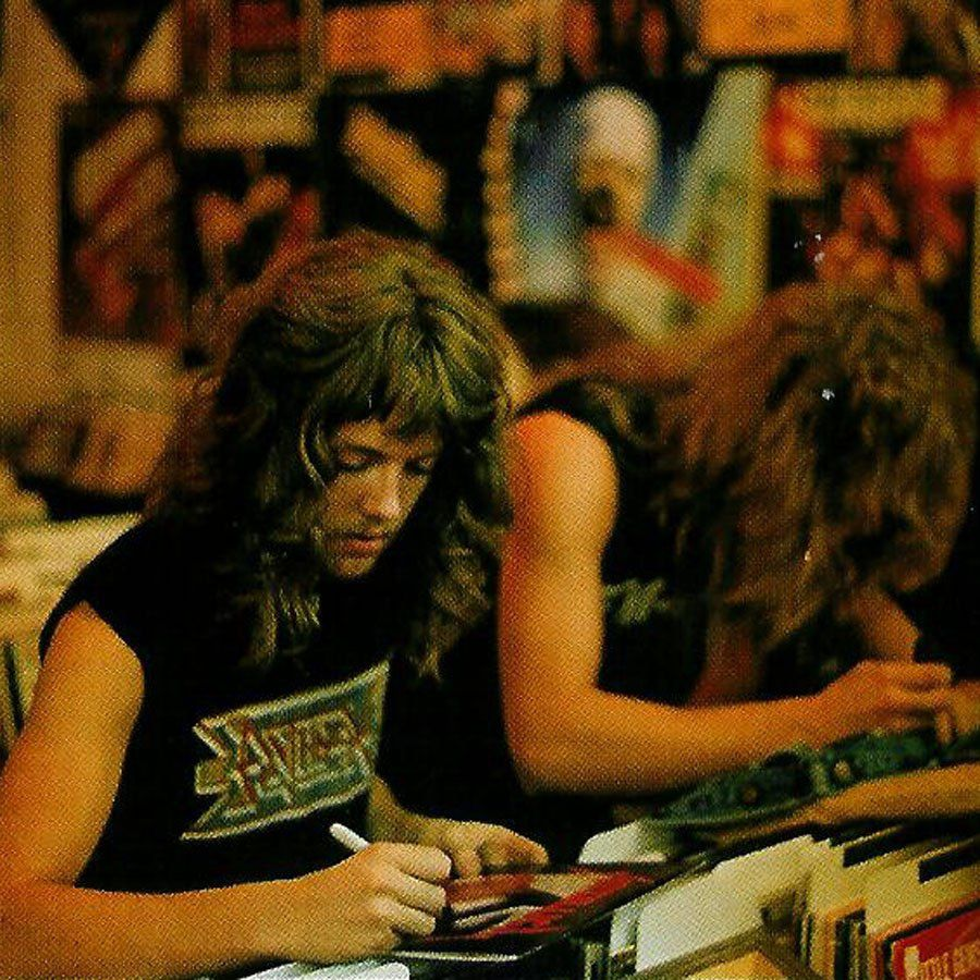 Lars Ulrich & James Hetfield signing vinyl and denim jackets at the Record Vault before the final show of the Kill 'Em All for One tour with Raven - Credit: Wayne Vanderkuil