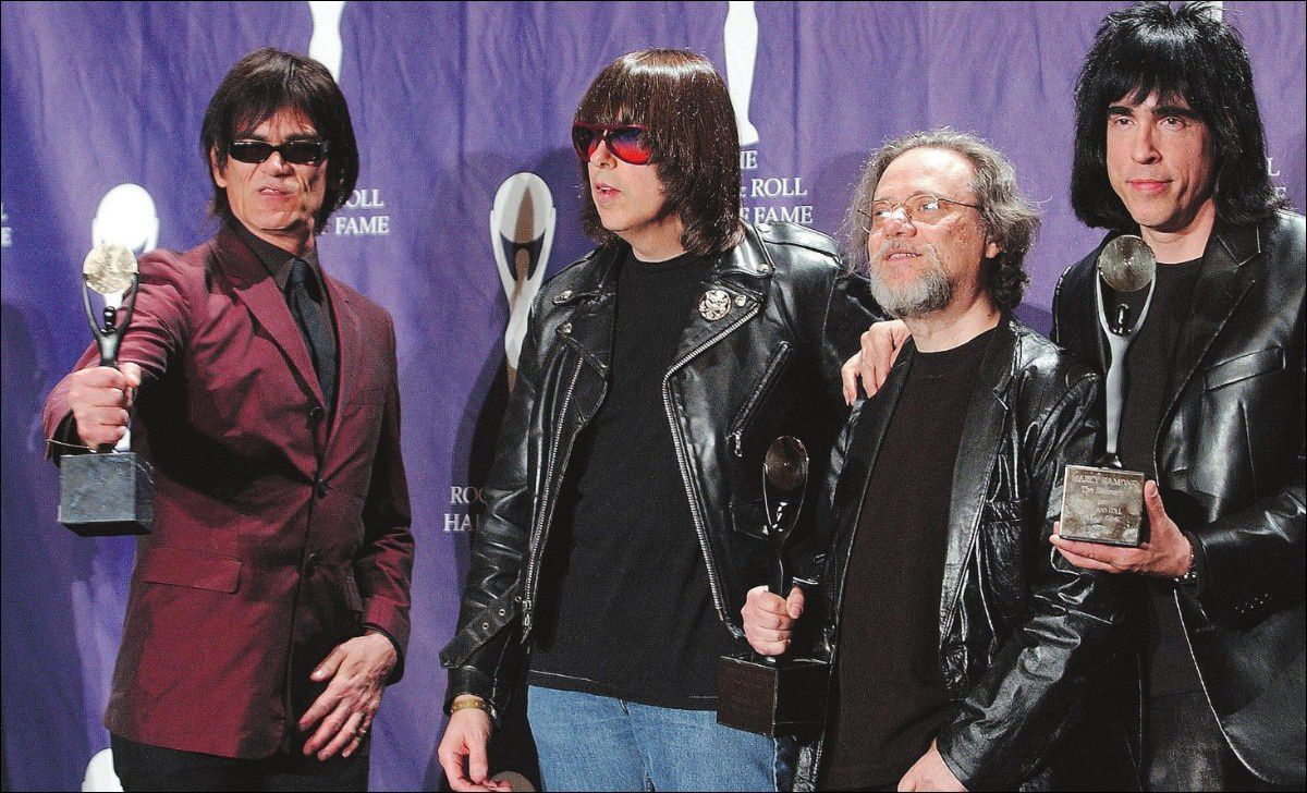 from left: Dee Dee, Johnny, Tommy and Marky Ramone, seen at the 2002 Rock and Roll Hall of Fame induction - Photography by Ed Betz, The Associated Press