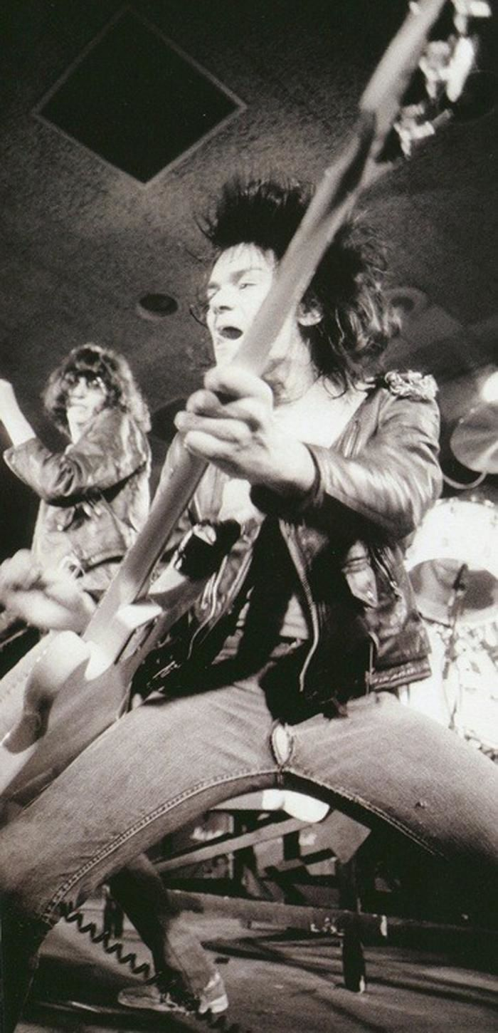 Dee Dee Ramone, The Ramones - on stage at CBGBs in New York City