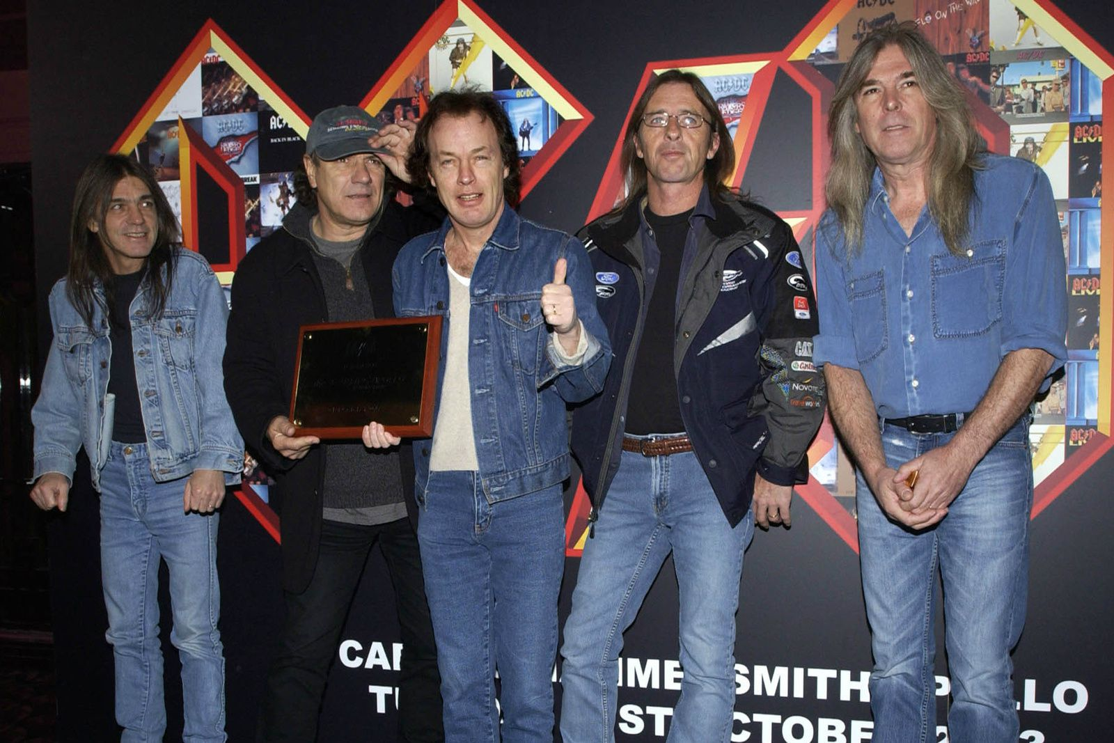 Malcolm Young, Brian Johnson, Angus Young, Phil Rudd and Cliff Williams, AC/DC at the Hammersmith Apollo (2003)