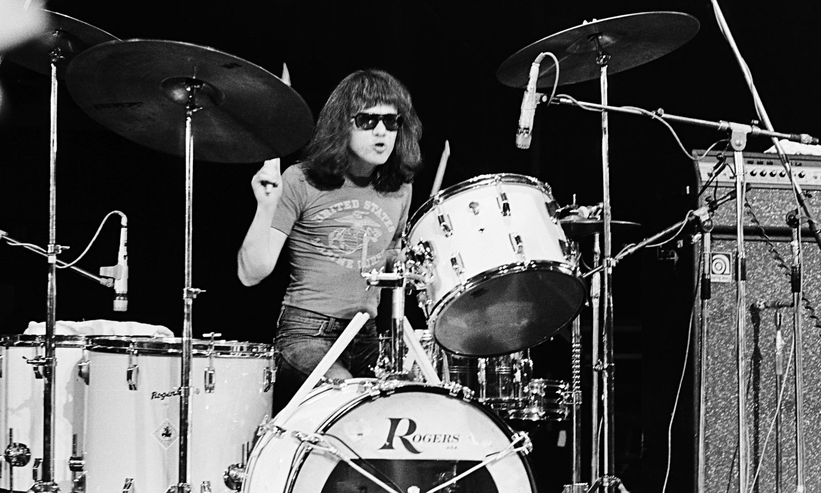 Tommy Ramone performs on stage with The Ramones at The Roundhouse in London, July 4th, 1976 - credit: Gus Stewart/Redferns