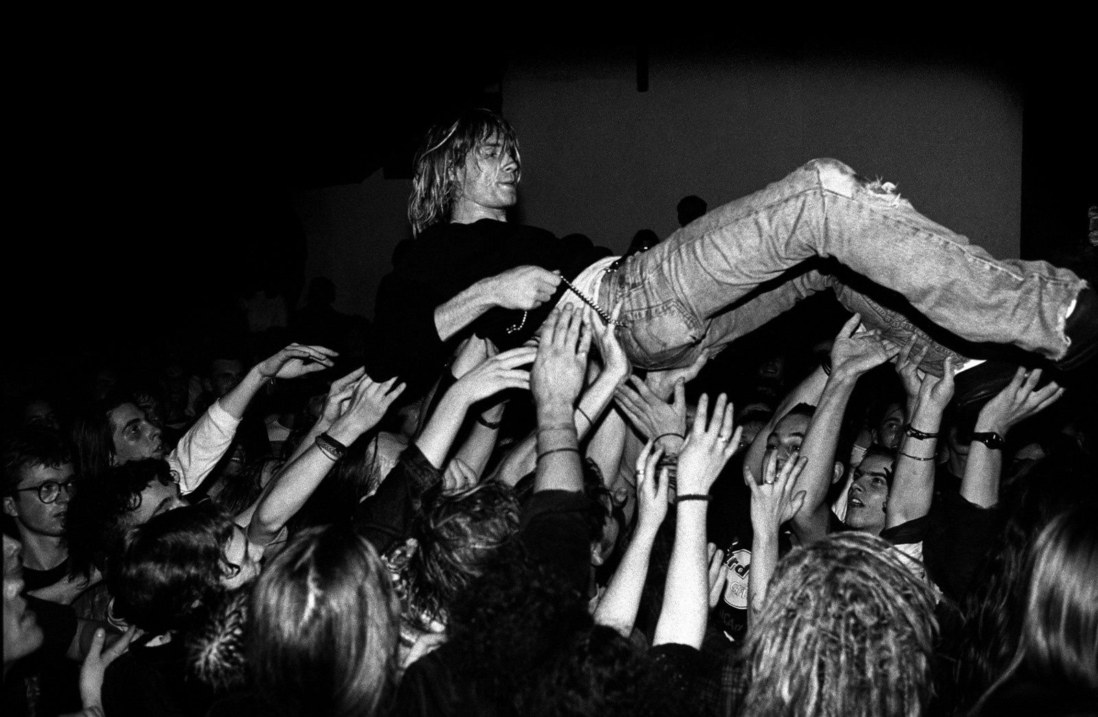 Kurt Cobain crowd surfs during a Nirvana show in Frankfurt, Germany in 1991