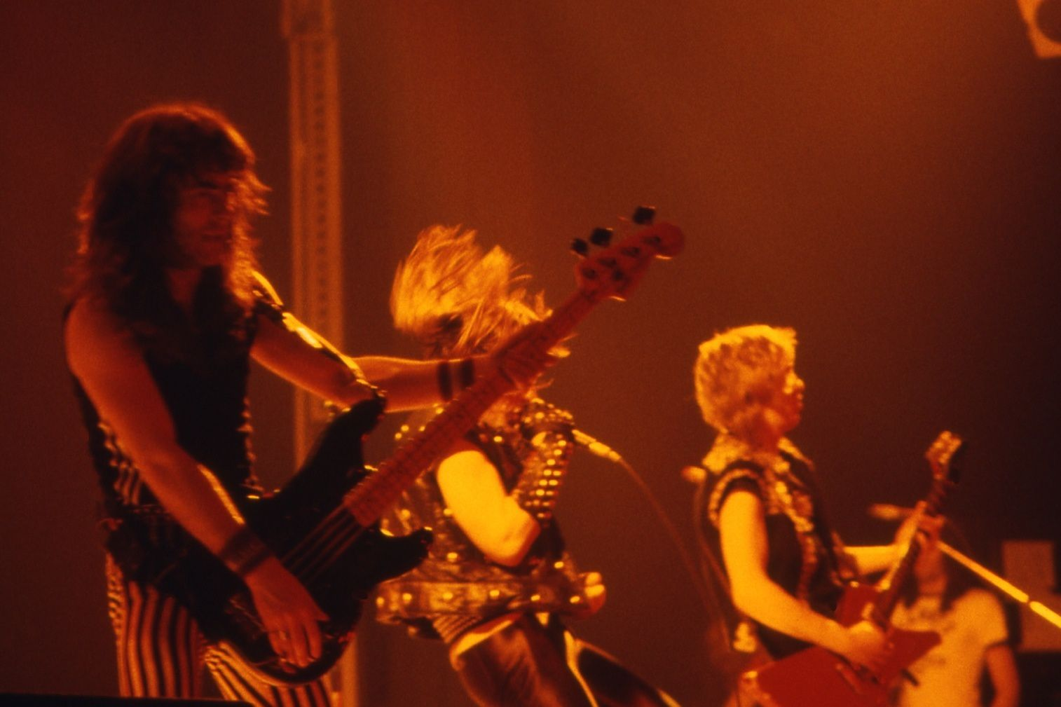 Steve Harris, Bruce Dickinson and Adrian Smith in 1982 (Iron Maiden)