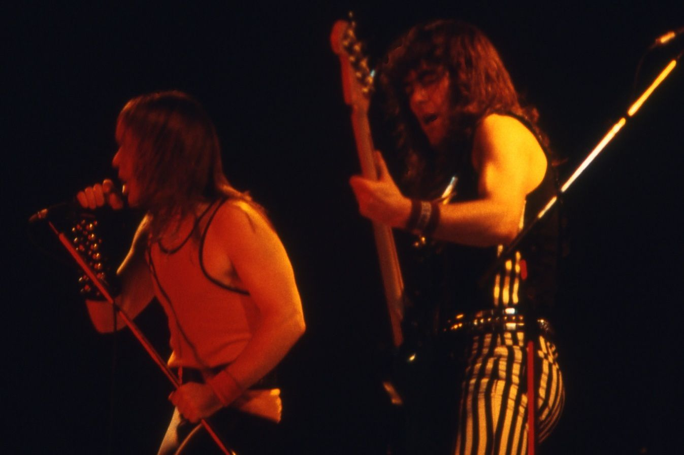 Steve Harris and Bruce Dickinson (Iron Maiden) on stage in Spain