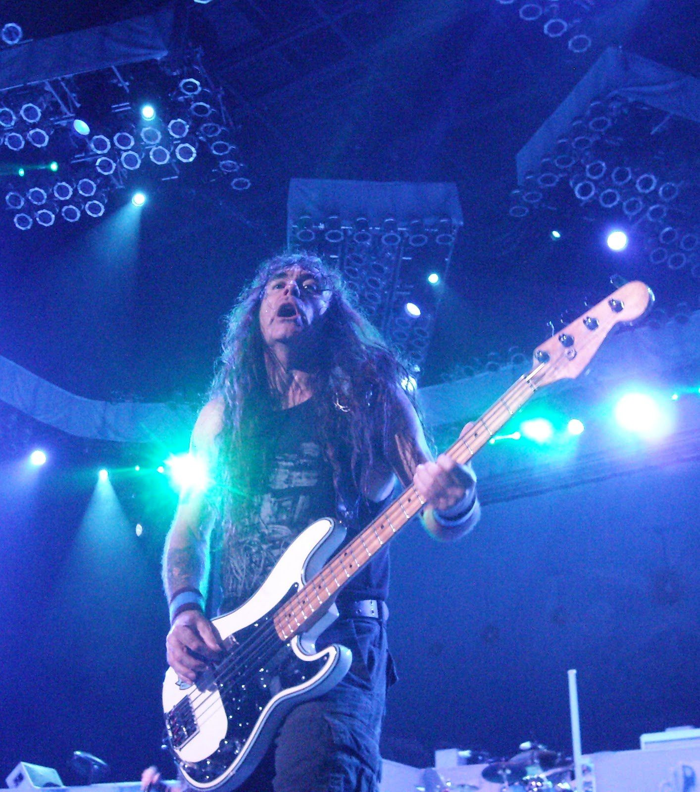 Steve Harris (Iron Maiden), encouraging the audience to sing along during Wasted Years near auburn washington (2012)