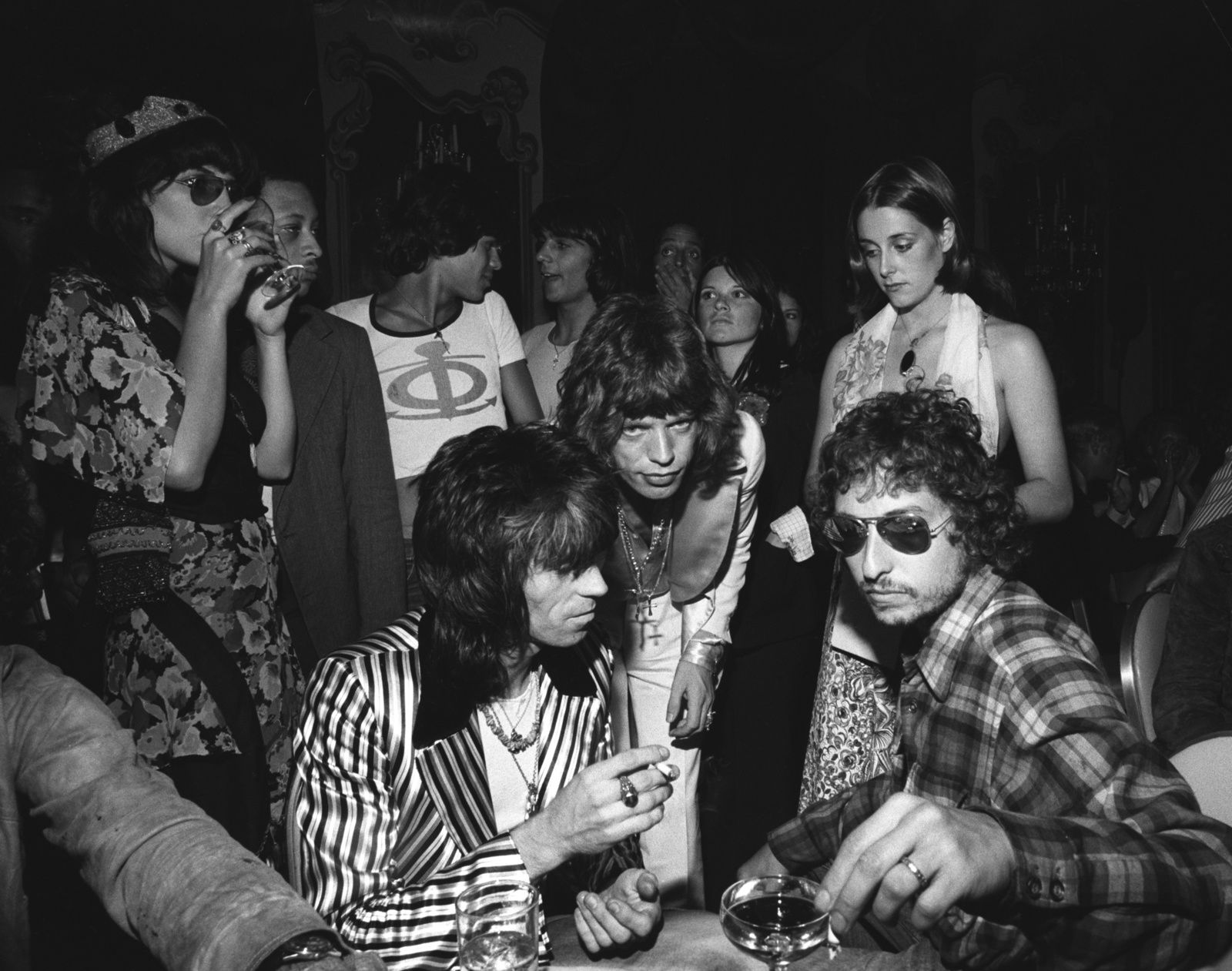 Bob Dylan, Mick Jagger and Keith Richards at Jaggers 29th birthday party (July 1972)