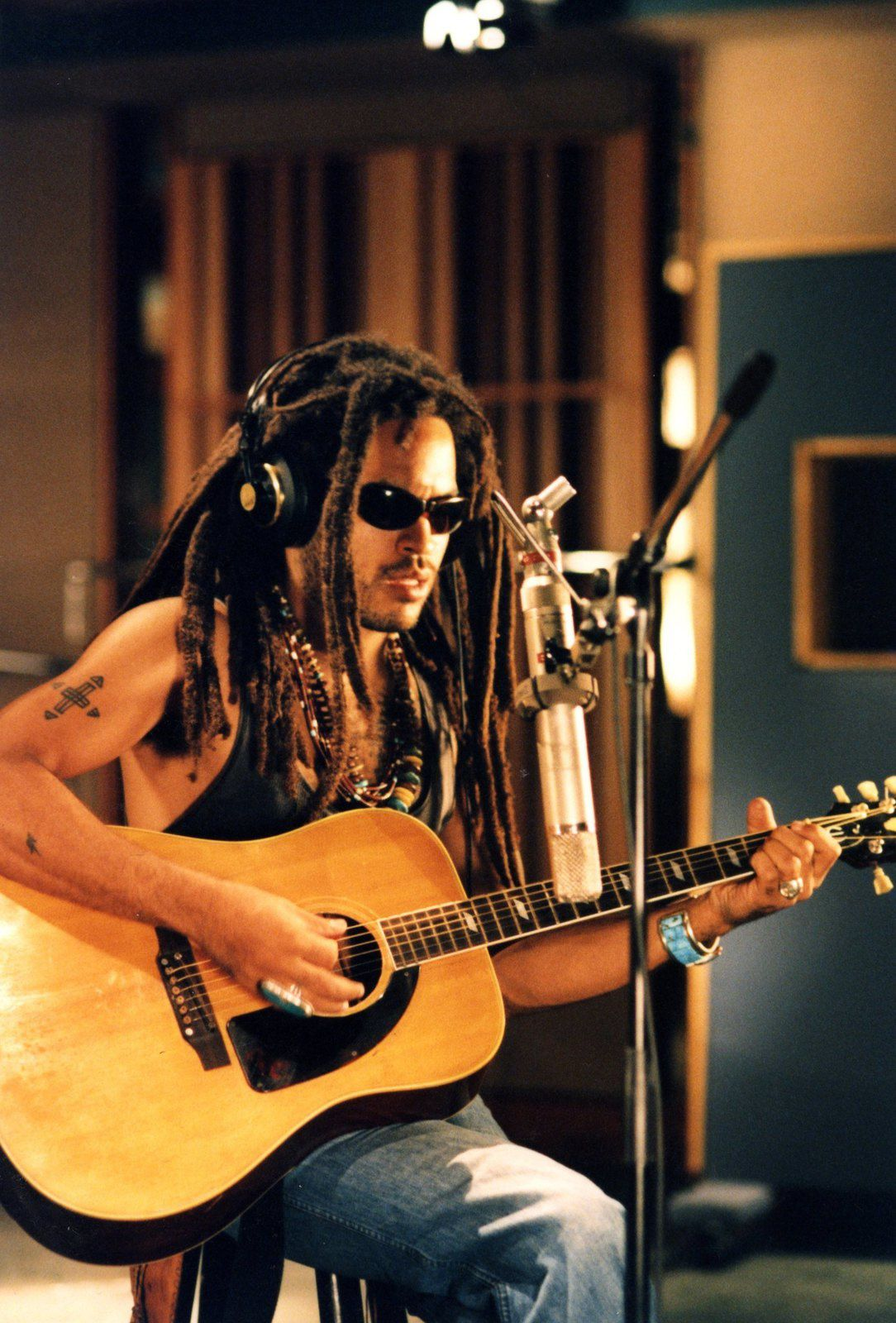Lenny Kravitz records acoustic guitar at Battery Studios for the song 'U Will Know' which was released as part of the all-star Jason's Lyric soundtrack in 1994 in New York, New York. (Photo by Al Pereira/Michael Ochs Archives/Getty Images)